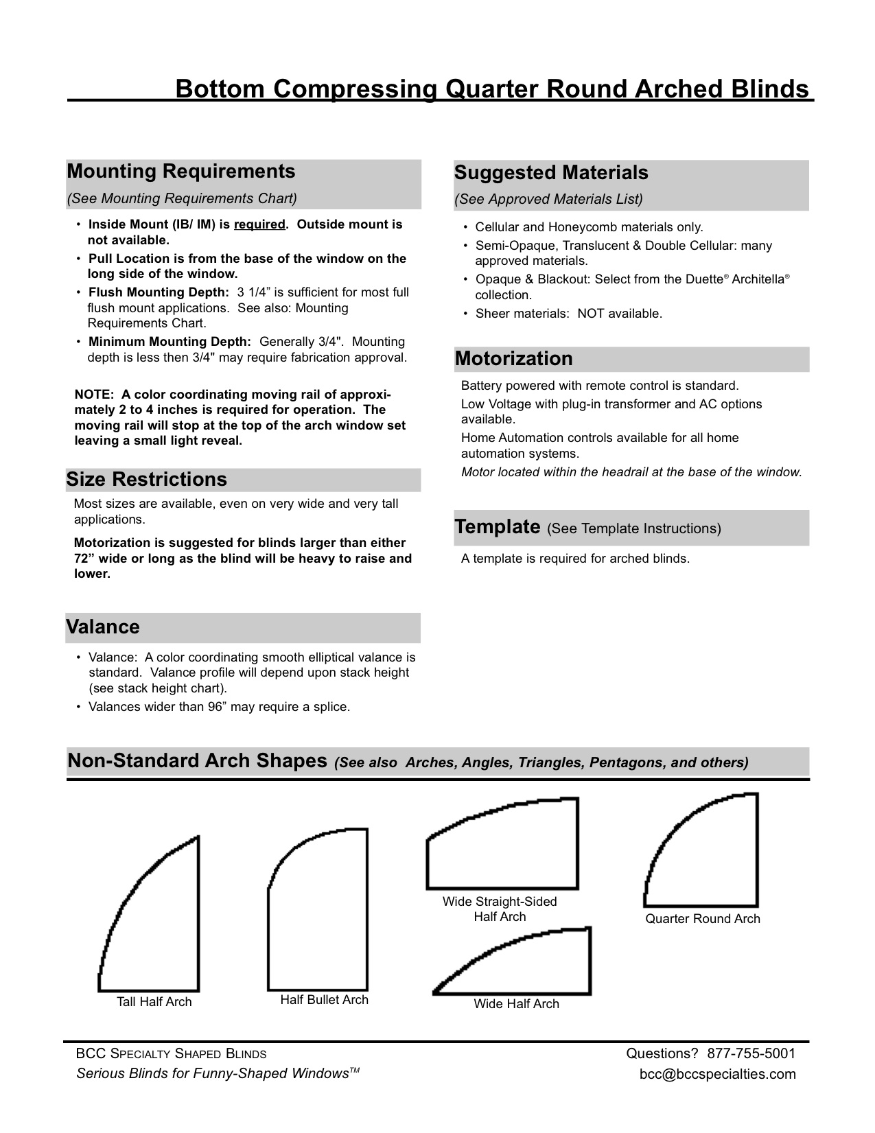 Quarter Round Window Blind Technical Specification Sheet